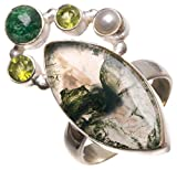 StarGems(tm) Natural Moss Agate,Green Aventurine,River Pearl and Peridot 925 Sterling Silver Ring, 7.25