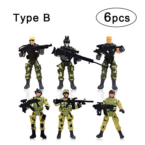 KOBWA 6 Pcs Action Figure Army Soldiers Toy Special Forces Army Combat SWAT Soldier Action Figures with Military Weapons and Accessories (4 Inches)