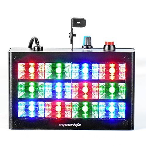 Eyourlife Bühnenbeleuchtung Discolicht Bühnenlicht Stroboskop sprachaktivierte RGB LED Blitzbühnenbeleuchtung für Disco Partei DJ Club Bar 12 LEDs 15W -EU Stecker