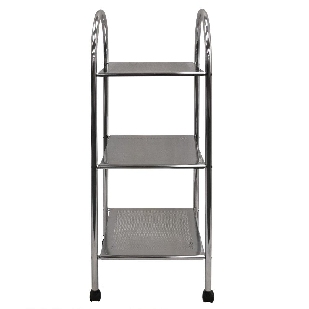 Trolley with Castors ATHENA Silver 3 Tier Metal Bathroom Storage Shelves