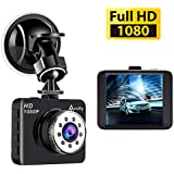 Accfly Dash Cam 1080P Mini Car Camera HD 2.7 LCD Dashboard Camera Driving Recorder Night Vision 120° Wide Angle G-sensor Loop Recording Parking Monitor