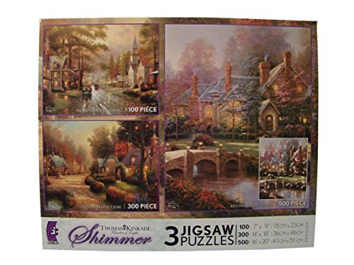 Thomas Kinkade Shimmer 3 Pack Jigsaw Puzzles: 100 - 300 - 500 Pieces - Hometown Evening - Cobblestone Lane - Beyond Spring Gate