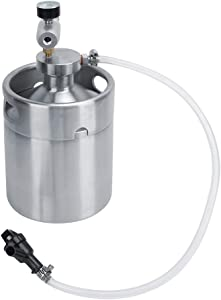 Liineparalle 64 Ounce Mini Keg with Mini Keg Regulator and Beer Dispenser Keg System Kit for Home Brew Beer Dispensor Silver Pressurized Growler Tap System 2L