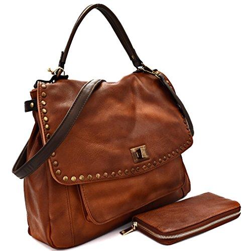 Le Miel Studded, Top Handle Saddle Crossbody Bag + Wallet (Brown)