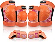 G4Free Adults Kids Bike Knee Pads Elbow Pads Wrist Guards 3 in 1 Protective Gear Sets for Skateboarding, Rolle