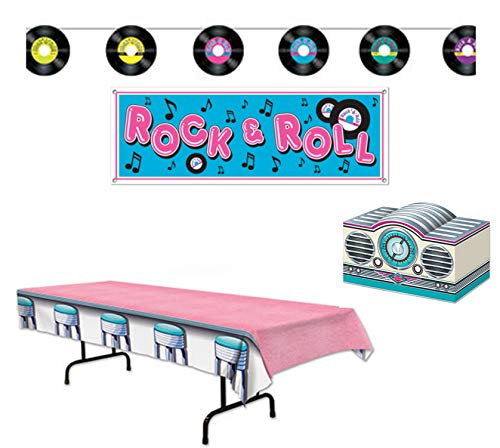 Fabulous 50's Sock Hop Party Decorations: Bundle Includes Centerpiece, Tablecover, Rock & Roll Banner, and Records Streamer -