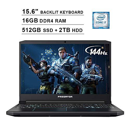 Acer 2019 Predator Helios 300 15.6 Inch FHD Gaming Laptop (9th Gen Intel 6-Core i7-9750H up to 4.5 GHz, 16GB RAM, 512GB PCIe SSD + 2TB HDD, Backlit Keyboard, GTX 1660 Ti, WiFi, Bluetooth, Win 10)