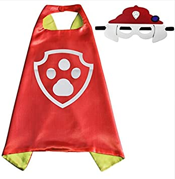 Paw patrol marshall superhero cape and mask set free paw patrol sheet of stickers