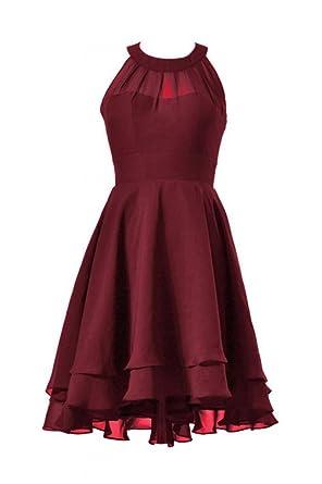 DaisyFormals High-Low Prom Dress Short Halter Chiffon Bridesmaid Dress(CST2225)- Dark