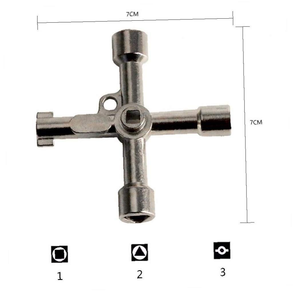 Multifunci/ón 4 Maneras Universal Tri/ángulo Llave de Fontanero Claves del tri/ángulo por un medidor de Gas el/éctrico Armarios Bleed Radiadores