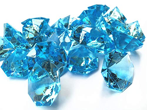 25 Carta Acrylic Diamonds, 1.2 Inch Acrylic Colorful Round Treasure Gemstones Faux Round Confetti Diamond Crystals for Table Scatters, Vase Fillers, Party Decoration, Pack of 35 Pcs (32mm Aqua Blue) ()