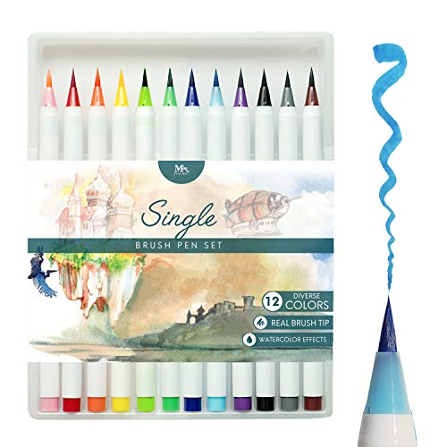 MozArt Supplies Brush Pens Set - 12 Colors - Soft Flexible Real Brush Tip Marker Pens, Durable, Premium Grade - Create Watercolor Effect - Ideal for Adult Coloring Books, Manga, Comic, Calligraphy