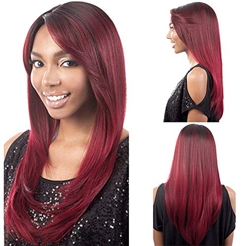 Women's Fashion Wig, Natural Wine Red Long Straight Supple Split Wig, High Temperature Silk Cosplay Role Playing Wig]()