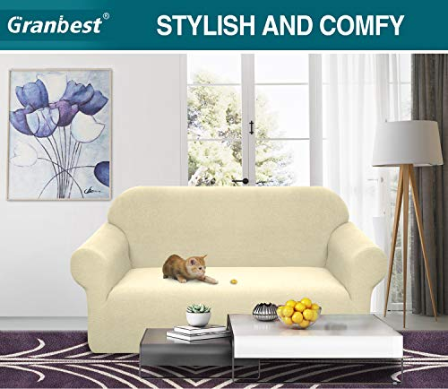 Granbest Premium Water Repellent Sofa Cover High Stretch Couch Slipcover Super Soft Fabric Couch Cover (Beige, Medium)