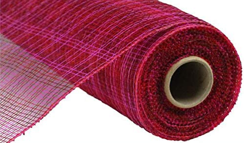 Multi Stripe Deco Poly Mesh Ribbon - 10 inch x 30 feet (Hot Pink, Red, Burgundy)