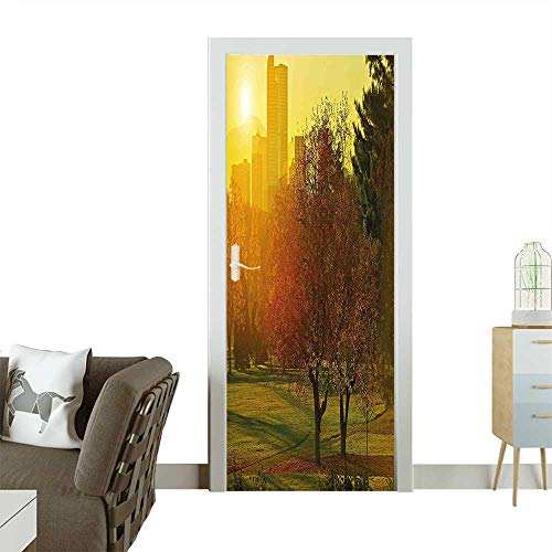 Homesonne Door Sticker Wallpaperover The City Park Colorado Skyline Autumn Theme Scenic Picture Fern Green Dark Fashion and Various patternW30 x H80 INCH ()