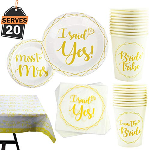 81-Piece Bachelorette Party Supplies Set Including Plates, Cups, Napkins, Tablecloth, Serves 20 ()