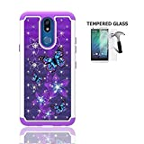Phone Case for Straight Talk LG Solo L423DL / LG K40 / LG K12 Plus/LG X4 (2019), Studded Rhinestone Crystal Bling Shockproof Cover Case + Tempered Glass Screen Protector (Purple-Blue Butterfly)
