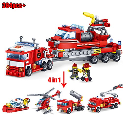 VIETXA s - 348pcs Fire Fighting 4in1 Trucks Car Helicopter Boat s Compatible ing City Firefighter Figures Children Toys - Complete Series Merchandise ()