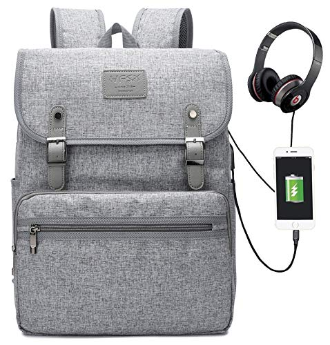Laptop Backpack Men Women Business Travel Computer Backpack School College Bookbag Stylish Water Resistant Vintage Backpack with USB Port Fashion Grey Fits 15.6 Inch Laptop and Notebook ()