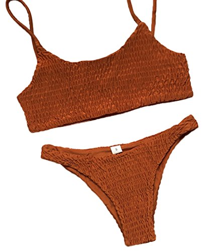 Mumentfienlis Women's Two Piece Solid Color Bikini Swimsuit Size M Brown by Mumentfienlis
