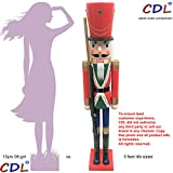 CDL 60'' 5feet Tall Life-Size Large/Giant Red Xmas Wooden Nutcracker Soldier Ornament on Stand Carry Ceremonial Gun For Indoor Outdoor Xmas/Event/Ceremonies/Commercial Decorations K44