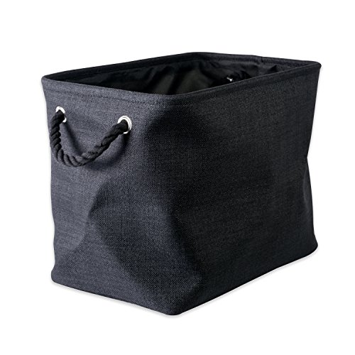 "DII Collapsible Variegated Polyester Storage Basket or Bin with Durable Cotton Handles, Home Organizer Solution for Office, Bedroom, Closet, Toys, & Laundry (Large – 18x12x15""), Black"