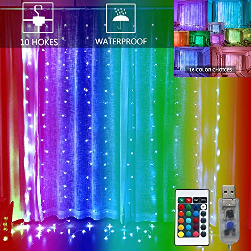 16 Color Changing Window Curtain Lights,200LED USB Powered Icicle Fairy String Lights with Remote Control, Twinkle Lights for Bedroom Parties,Weddings,Wall Decorations (9.8x9.8Ft Multi-Color)