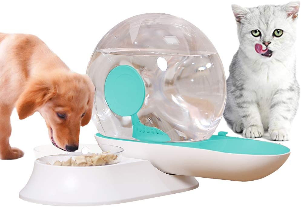 OldPAPA Automatic Cat Feeder, Snail Shape Pet Water Dispenser and Food Bowl Set - 2 in 1 Gravity Waterer Dispenser Double Pet Feeder for Dogs and Cats