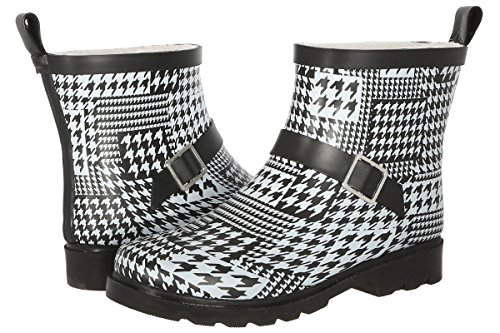 Capelli New York Ladies Shiny Houndstooth Collage Printed Short Sporty Lined Rainboot White Combo 9