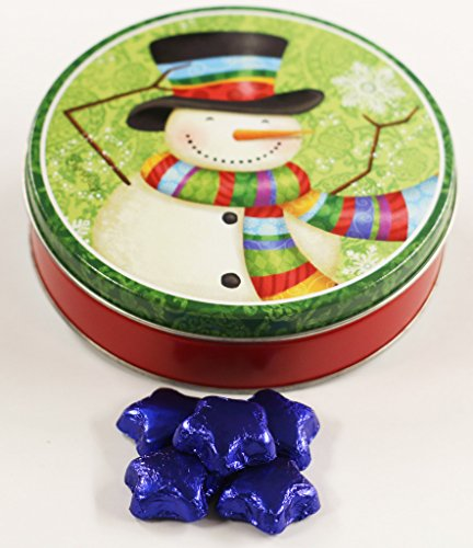 Scott's Cakes Blue Foil Wrapped Solid Milk Chocolate Stars in a Mini Scarf Snowman Tin