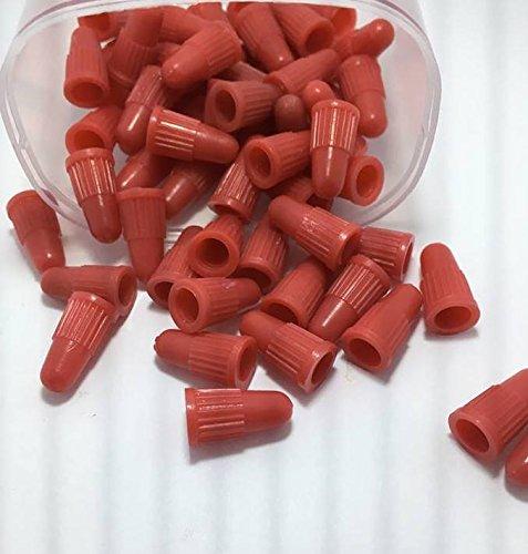 BCM Plastics Bicycle Presta Valve Caps (12 Count Presta Cap Bag/Cream Red)
