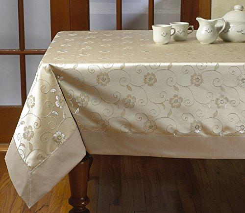 Violet Linen Elegant Embroidered Flower Design Tablecloths, 70