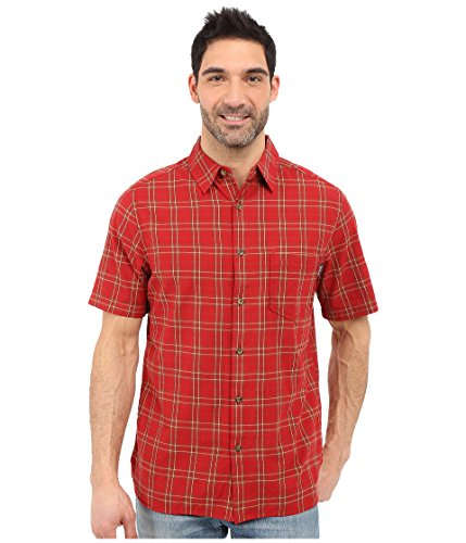 Woolrich Men's Amble Wood Short Sleeve Shirt, Crimson, Medium