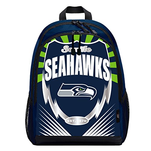 Officially Licensed NFL Seattle Seahawks Lightning Kids Sports Backpack, Blue