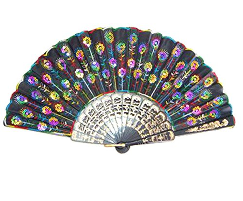 Beautiful Lady's Silk Folding Hand Fan with Rainbow (Rainbow Fan)