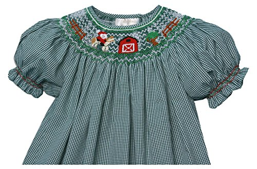 (Rosalina Big Girl's Cowboy Santa Green Gingham Smocked Bishop Dress 6Y)