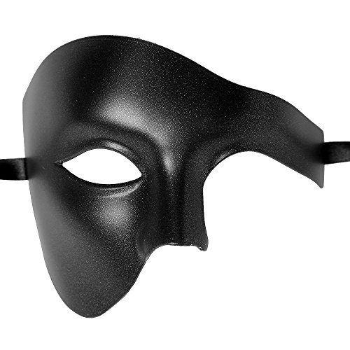 ILOVEMASKS Roman Phantom Of Opera Masquerade Hallow Mask - Metallic Black for $<!--$8.98-->