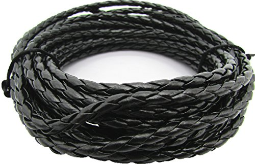 Leather Round Braided - Black 4.0mm Round Folded Bolo Braided PU Leather Cords for Necklace Bracelet Jewelry Making 5meter
