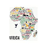 VROSELV Custom Blanket Quote Colorful Lettering of African Countries in Africa Continent with Animals Art Print Bedroom Living Room Dorm Multicolor