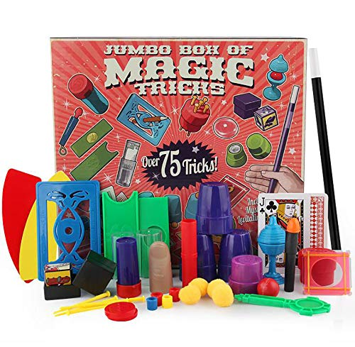 HAPTIME Deluxe Magic Tricks Kit for Beginners with Mysterious Levitating Wand Jumbo BOH of 75 Magic Tricks Great for Boy or Girl Gift,Best Age 6+ Year Old ()