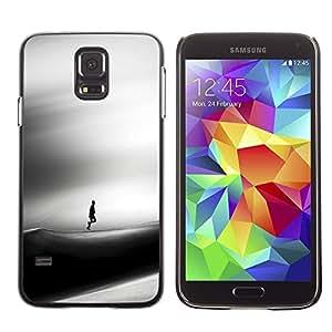 TopCaseStore / la caja del caucho duro de la cubierta de protección de la piel - Sad Dune Desert Man Wind Art Black - Samsung Galaxy S5 SM-G900