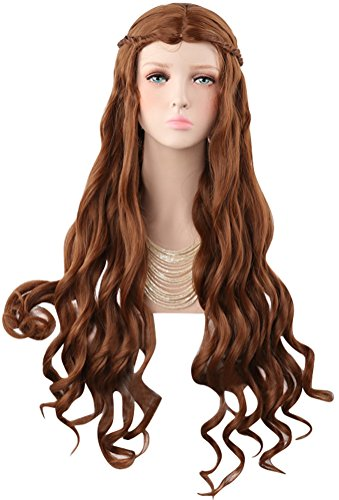 COSKING Cersei Cosplay Wigs, Women Halloween Long Curly Brown Queen Costume Hair Wig with Braid (One Size) ()