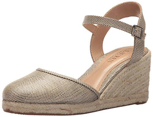 Lauren Ralph Lauren Women's Hayleigh II Espadrille Wedge Sandal, Platino, 10 B US - Ralph Lauren Straw