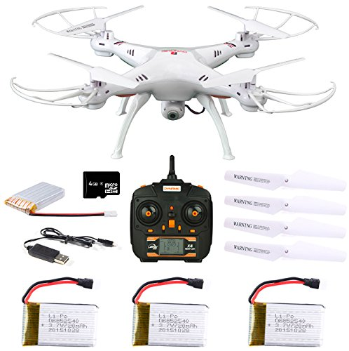 - Dynamic Aerial Systems X4 Spartan 2.4GHz 4CH 6-Axis Gyro RC Quadcopter Drone with 2MP Camera & Large LED Lights with 3 Additional Extended Batteries