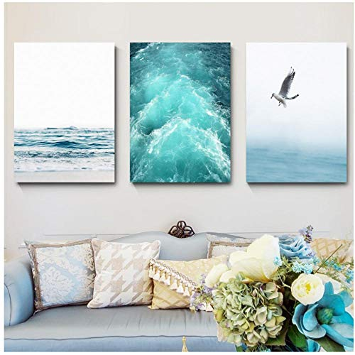 Wadyx 3 Pieces Nordic Wall Pictures Canvas Blue Sea and Sky Landscape Painting Printed Seagull Beach Waves Poster 50X70Cmx3 No Frame