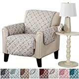 Modern Printed Reversible Stain Resistant Furniture Protector with Geometric Design. Perfect Cover for Pets and Kids. Adjustable Elastic Straps Included. Liliana Collection (Chair, Silver Cloud)