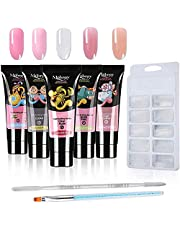 Anself nagelverlenging met 15 ml * 5 kleuren gelnagels nagelverlenging, met nagel dubbelzijdige stalen pen, nagelborstel en 100 stuks nagelbakken