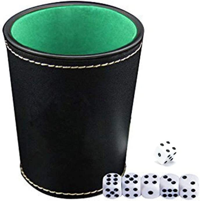 Votono 2 Pack Luxury 24K Gold Foil Playing Cards Gold-Plated Waterproof Poker Cards for Table Game 2 Pack Felt Interior PU Leather Dice Cup Set with 12 Black Dot Dices Classic Magic Tricks Tool