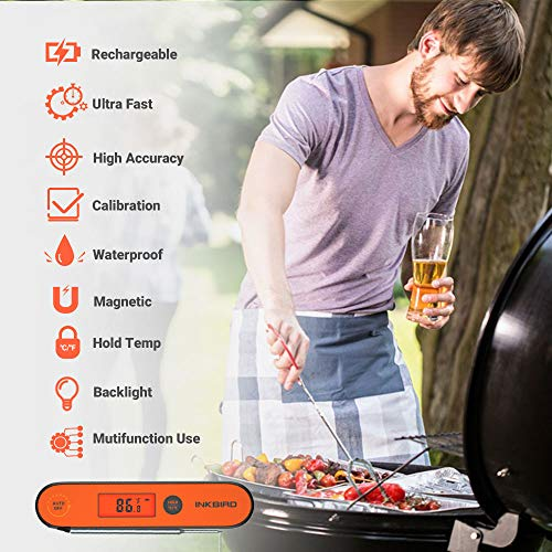 Inkbird Waterproof Instant Read Thermometer IHT-1P, Digital BBQ Meat Thermometer, Cooking Food Thermometer, Calibration, Magnet, Backlight for Grill,Smoker, Kitchen, Oven, Candy